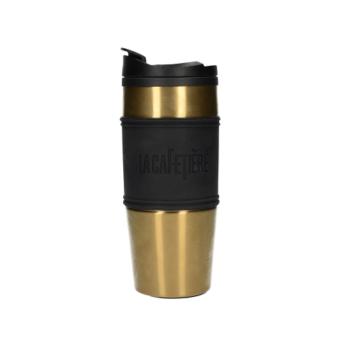 C.T.5207773 Duplafalú utiflaska műanyagbelső, rozsdamentes külső szilikon fogóval, 450ml arany, La Cafetiére
