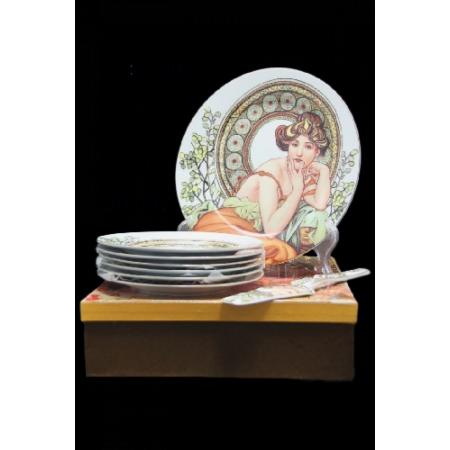 P.P.W3S27-12396 Porcdelán süteményes készlet lapáttal,6 személyes,( desszert tányér:19cm)Mucha:Topáz fehér