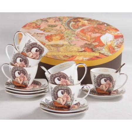 P.P.W3S18-35678 Porcelán csésze+alj 6 személyes,kanállal,Mucha:Topáz,fehér