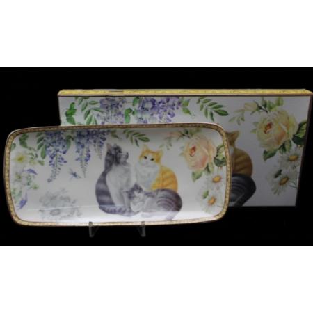 P.P.W6CT244-11901 Porcelán tálca 30x14cm,3 macska