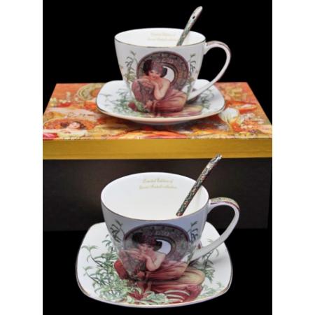 P.P.W6S160-17033 Porcelán csésze 200ml +alj,kanállal,2 személyes,Mucha:Smaragd