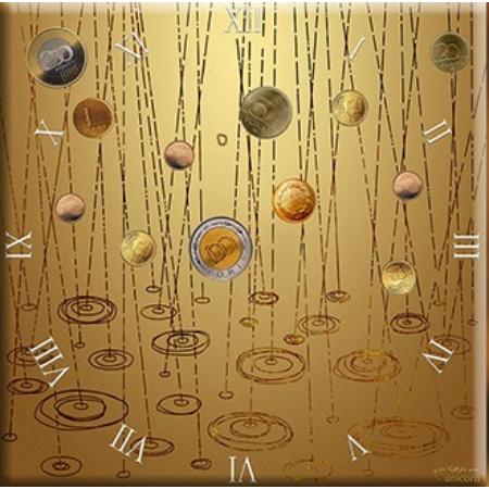 D.I.19-08 Üveg falióra 30x30cm ,Pénzeső-barna