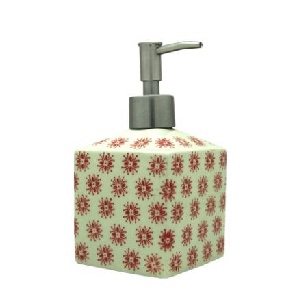 L.S.N.50019 Kerámia folyékony szappannyomó 15x8x8cm, piros virágos