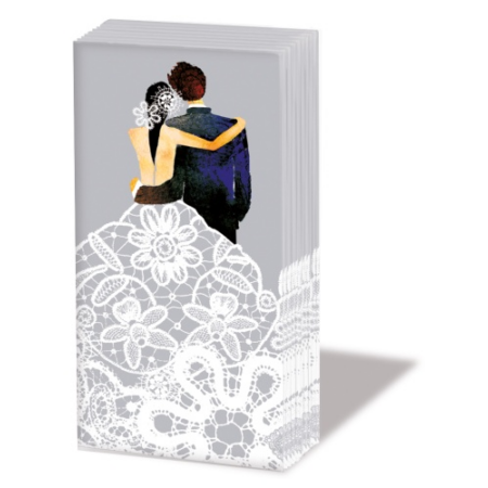 PPD.SNIFF050924 Wedding Couple,silver papírzsebkendő,10db-os