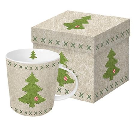 Porcelán bögre 0,35l dobozban, Felt Xmas Tree
