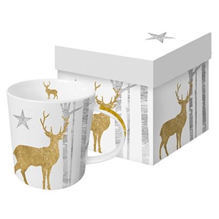 Porcelán bögre 0,35l dobozban Mystic Deer Gold