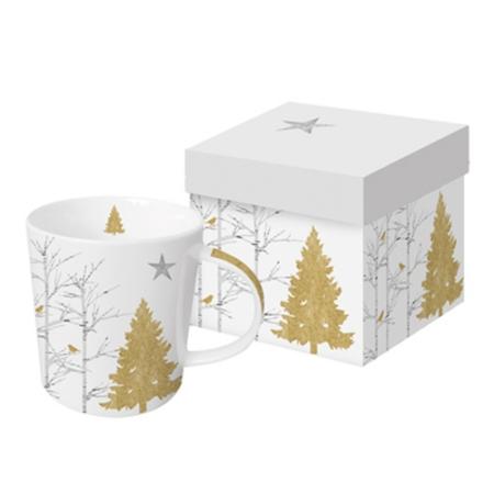 Porcelán bögre 0,35l,dobozban Mystic Tree gold