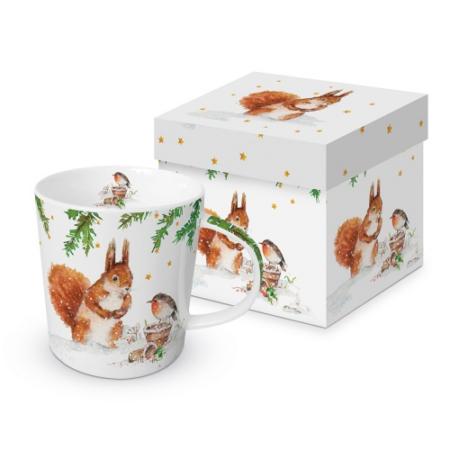 Porcelánbögre 0,35l, dobozban, Squirrel & Robin