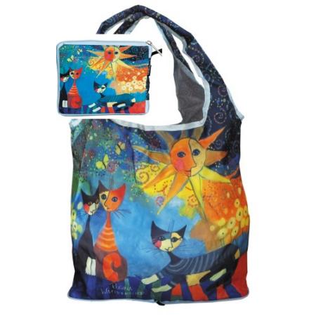 FRI.40512 Táska a táskában, nylon, Rosina Wachtmeister: Dolce Vita, 42x48cm, összehajtva: 16x13cm