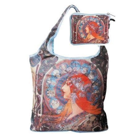 FRI.40521 Táska a táskában, nylon, Mucha: Zodiak, 42x48cm, összehajtva: 16x13cm