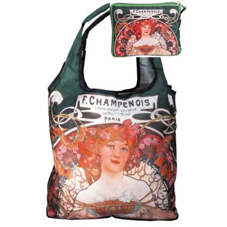 FRI.40522 Táska a táskában, nylon, Mucha: Champenois, 42x48cm, összehajtva: 16x13cm