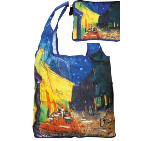 FRI.40536 Táska a táskában, nylon, Van Gogh: Kávéház éjjel, Összehajtva: 16x13cm