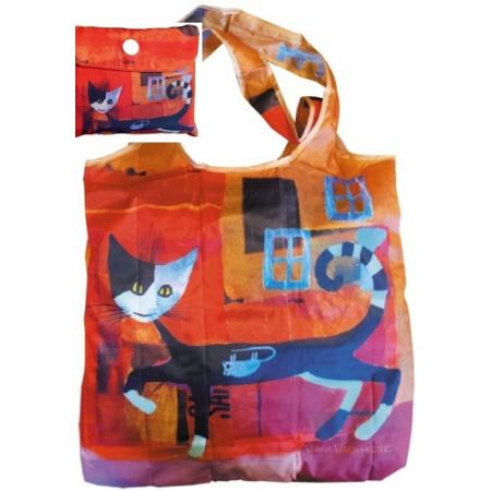 FRI.40712 Összezárható bevásárló táska, Rosina Wachtmeister: Ivano with mouse, 40x40cm, összehajtva: 9x9cm
