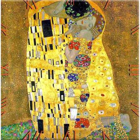D.I.19-06 Üveg falióra 30x30cm, Klimt: The Kiss