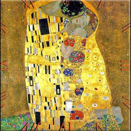 D.I.19-06 Üveg falióra 30x30cm, Klimt: The Kiss