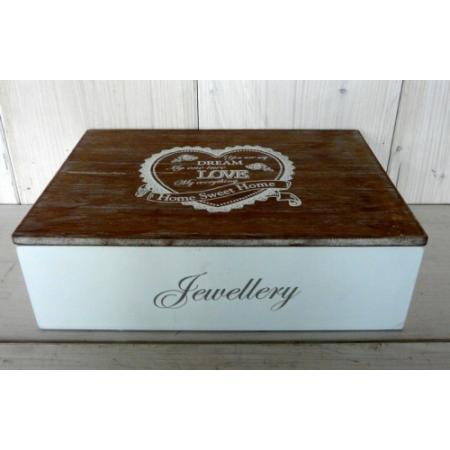 D.P.WY0031 Fa ékszertartó doboz,natúr tetővel Home Sweet Home 23x6,5x16cm