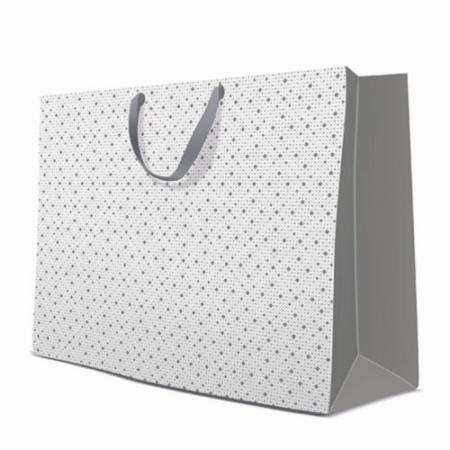 P.W.AGB1009801 Dots Texture papír ajándéktáska maxi silver 54x44x16cm