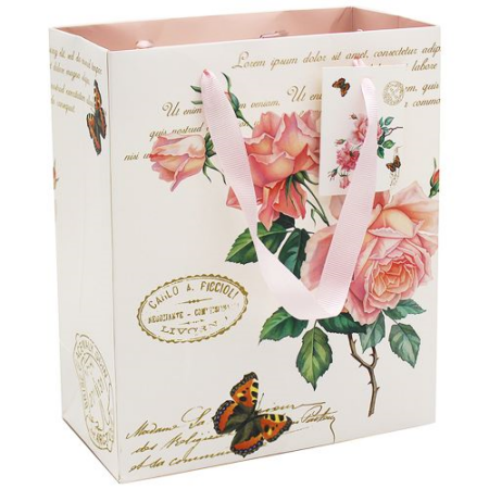 T.L.C.LP45897 Papír ajándéktáska 19x10x23cm, Redoute Rose