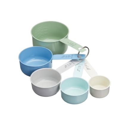 K.C.LNMEASSPOON Rozsdamentes acél mérőkanálszett 5 db-os, 1/8 csésze (30ml)-1 csésze (250ml), vintage színek, Living Nostalgia
