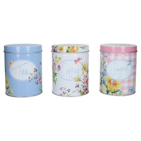 C.T.C000099 Tea/Kávé/Cukor fémdoboz szett S/3, 105x137x105mm, English Garden, Katie Alice