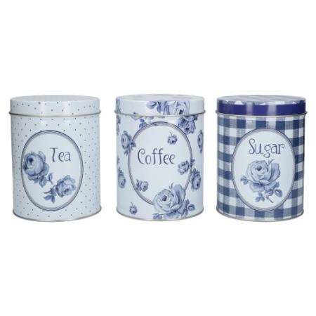 C.T.C000103 Tea/kávé/cukor fémdoboz szett S/3, 105x137x105mm, Vintage Indigo, Katie Alice