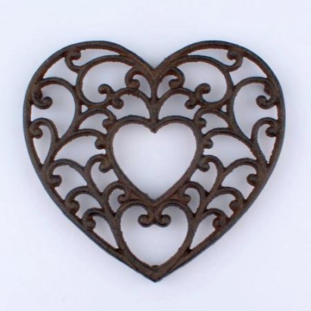 Öntöttvas szív edényalátét 18,5x17cm