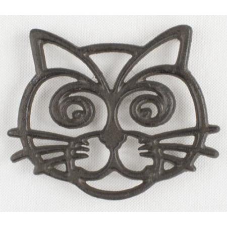 D.LS102 Öntöttvas edényalátét macska 16cm, barna