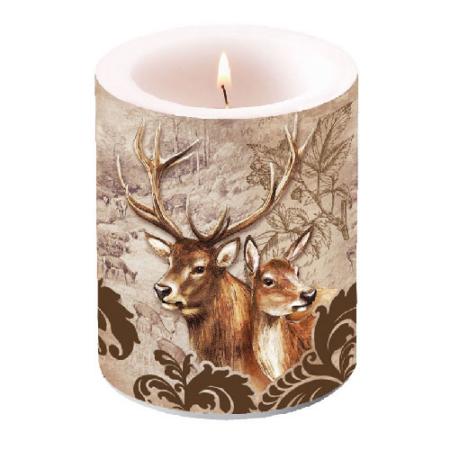 AMB.19107375 Deer Couple brown átvilágítós gyertya 12x10cm