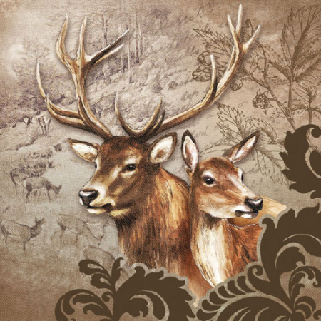 AMB.13307375 Deer Couple Brown papírszalvéta 33x33cm,20db-os