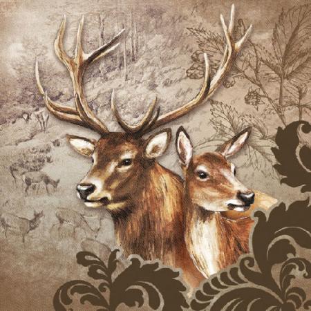 AMB.13307375 Deer Couple Brown papírszalvéta 33x33cm,20db-os