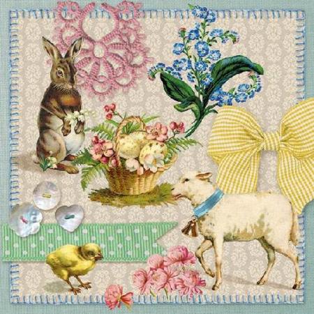 AMB.23301635 Easter Collage papírszalvéta 33x33cm,20db-os