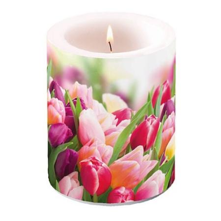 AMB.19112730 Glorious Tulips átvilágítós gyertya 12x10cm