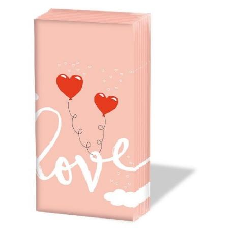 AMB.12212765 Love Balloons Pale Rose papírzsebkendő 10db-os