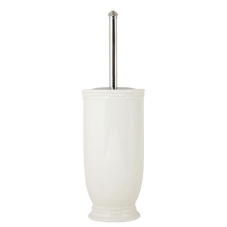 Clayre & Eef 60459 Fürdőszoba toalett kefe tartó 11x11x38cm, fehér, domború bogyós mintával