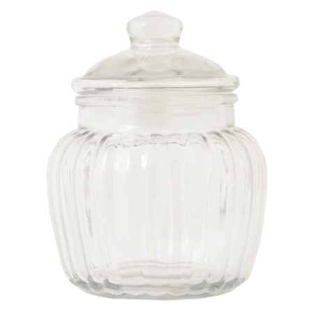 Clayre & Eef W4GL0167 Tároló üveg 11x15cm, bordás