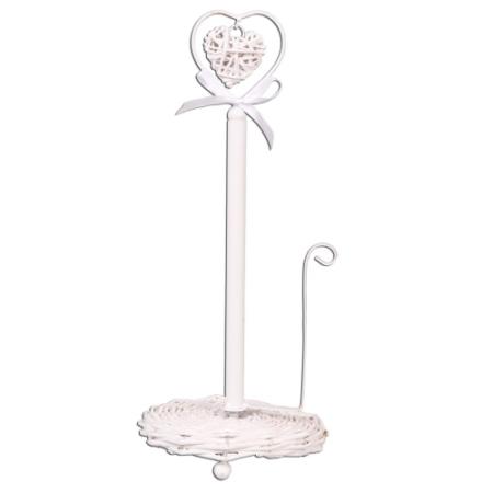Clayre & Eef 6RO0122W Rattan szilviatartó szívvel, fehér 16x38cm
