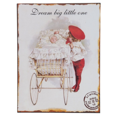 "Clayre & Eef 63129 Fém kép 25x33cm, gyerekekkel "" Dream big little one """