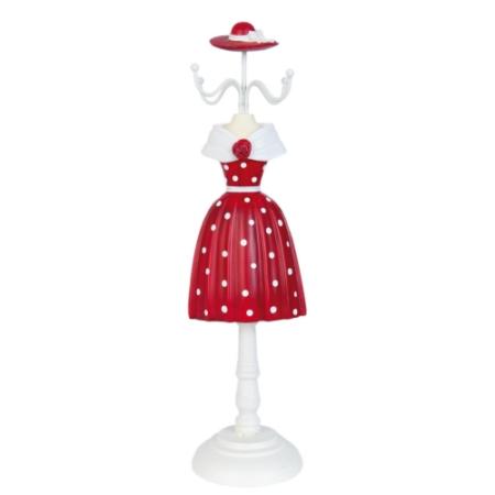 Clayre & Eef 63362 Ékszertartó baba 10x33cm,piros fehér pöttyös, rózsával