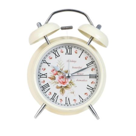 Clayre & Eef 6AC0010 Ébresztő óra fém, krém 12x15cm,rózsás
