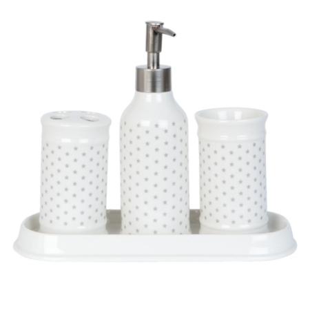 Clayre & Eef 63369 Porcelán fürdőszoba szett 4 részes