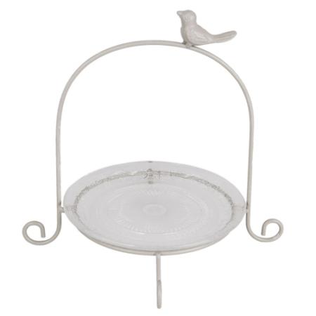 A.6Y2556 Fém süteményes állvány üveg tányérral, szürke, madaras, 27x24x24 cm