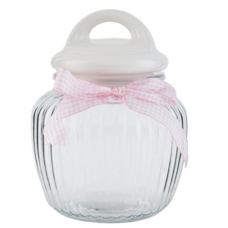 Clayre & Eef 6GL1761 Tároló üveg bordás, kerámia tetővel, rózsaszín kockás masnival, 19x13cm