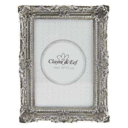 Clayre & Eef 2F0517 Képkeret műanyag 14x19cm / 10x15cm kép, ezüst körben mintás