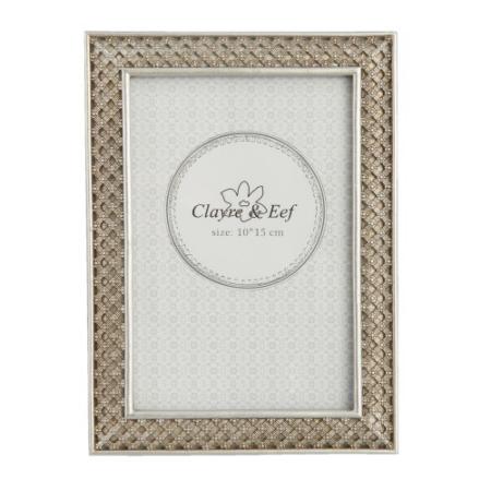 Clayre & Eef 2F0523ZI Képkeret müanyag 13x18/10x15cm kép, ezüst fonott mintás