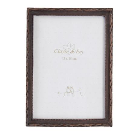 Clayre & Eef 2F0537 Képkeret műanyag 14x19/13x18cm kép, barna