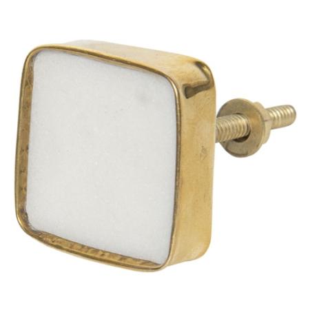 A.Clayre & Eef 64180 Ajtófogantyú szögletes 3, 5x3, 5cm, fehér kő aranyszínű fémkerettel