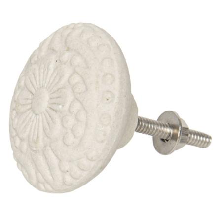 Clayre & Eef 64169 Ajtófogantyú gomb 4, 5x4, 5cm kerámia, fehér virágos