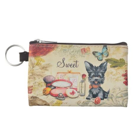 """Clayre & Eef SBS0028-01 Pénztárca kulcstartóval,műanyag 12x8cm, fekete kutyás """"Sweet"""""""