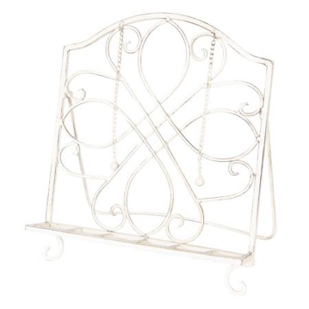 Clayre & Eef 6Y3329 Fém szakácskönyvtartó antikolt krém, 31x23x34cm