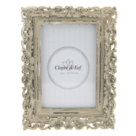 Clayre & Eef 2F0516 Képkeret műanyag 15x20cm/10x15cm kép, antikolt krém